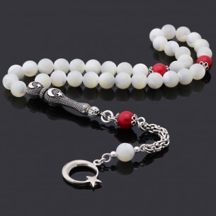 Turquaz Stone Silver Tassel Prayer Beads