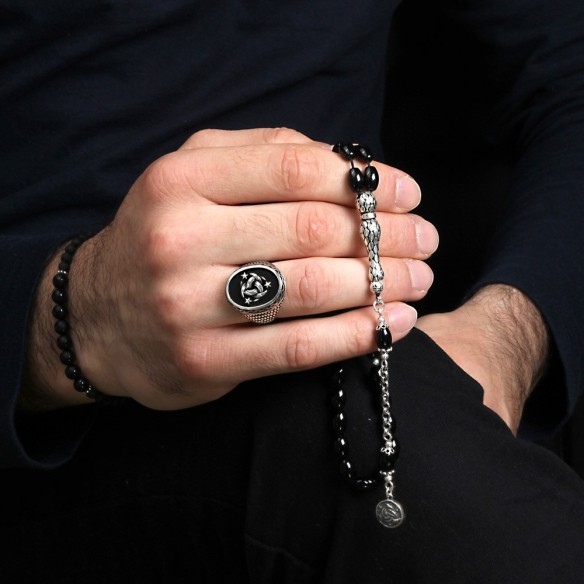 Onyx Stone My Destiny Prayer Beads Ring Set