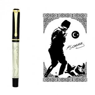 Atatürk Silüeti İşlemeli İsimli Roller Kalem ve Ahsap Hediye Kutu