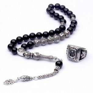 İsimli 925 Ayar Gümüş Oniks Tesbih & Yüzük Ay Yıldız Kombin