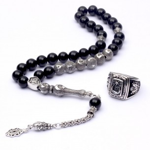 Onyx Stone Eagle Prayer Beads
