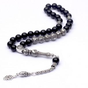 Onyx Initial Silver Prayer Beads