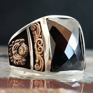 Ottoman Onyx Stone 925s Silver Ring