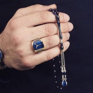 Blue Enamel Men Silver Ring  Pressed Amber Tasbih