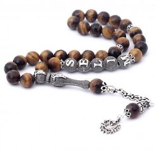 Tiger Eye Stone Silver Initial Prayer Beads