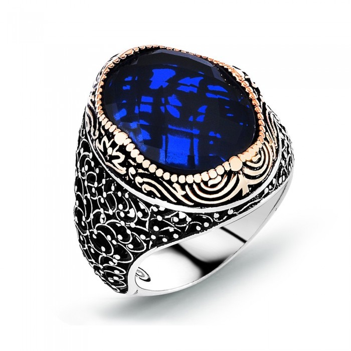 Ring silver 925 blue stones