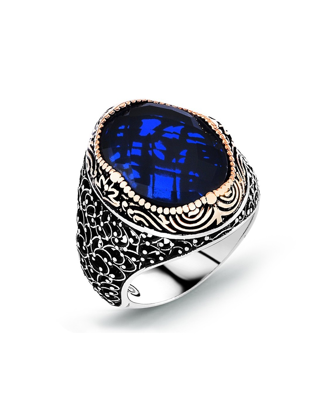 silver men ring with blue stone