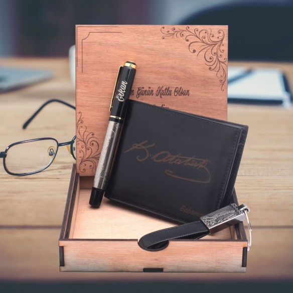 Personalized Leather Wallet Roller Pen Key Chain Set Gift
