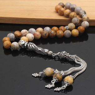 Crazy Agate Stone Silver Prayer Beads