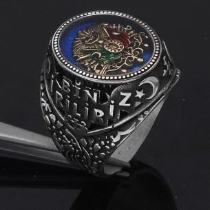 Bir Ölür Bin Diriliriz Yazılı Osmanlı Devlet Armalı Gümüş Yüzük