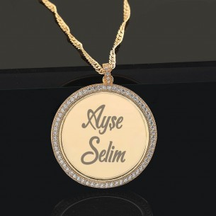 Engraved Name Necklace with Cz Zirkonia