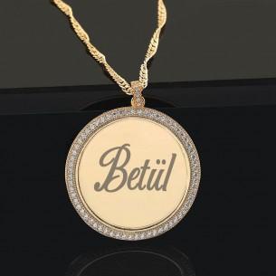 İsim Yazılı Altın Kaplama Gümüş Madalyon Kolye
