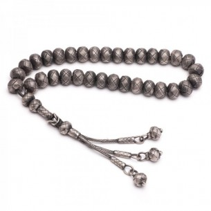 White Hand Made Kazaz Silver Prayer Beads