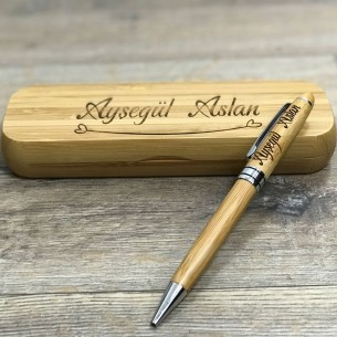 İsim Yazılı Bambu Kalem Set