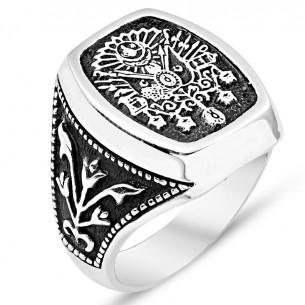 Osmanlı Arması Gümüş Erkek Yüzük-GYE058