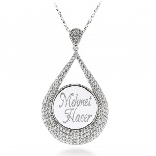 Personalized Silver Drop Necklace