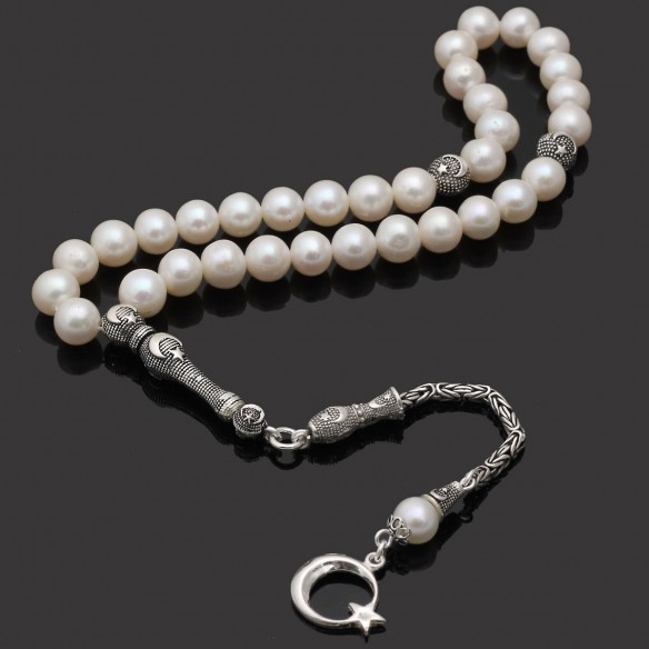 Pearl Stones Tesbih Misbaha with 925s Silver Tassel