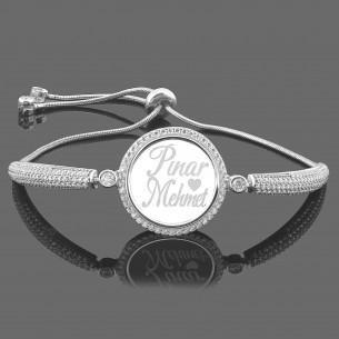 Personalized Silver Medallion Bracelet