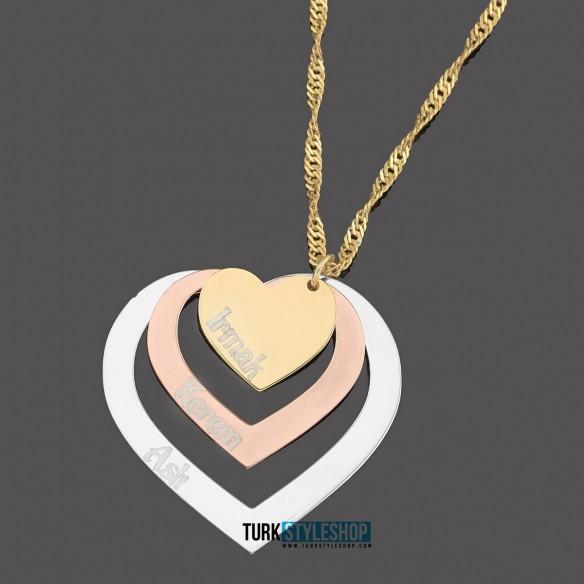 Minimal Stil isimli Kalp Çember Gümüş Kolye