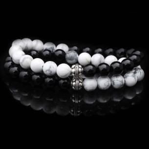 Doğal Oniks ve Havlit Taşlı Gümüş Parçalı Bileklik Set