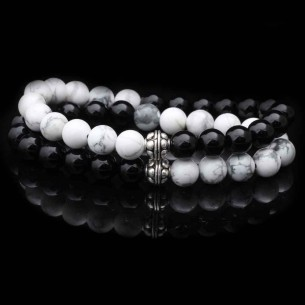 Onyx Black lava Bracelet in Sterling Silver