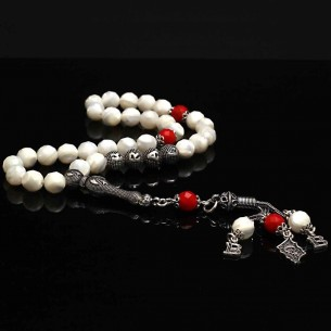 Pearl Stone Silver Initial Prayer Beads