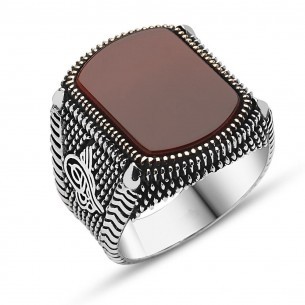 Ottoman Ring in Sterling Silver with Agate Stone