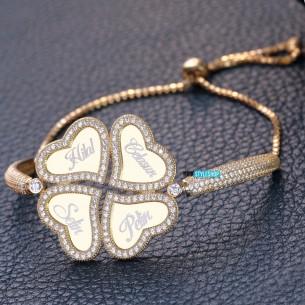 Yonca Tasarim İsimli Gümüş Taşlı Kelepçe Bileklik