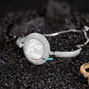Uc Sira Tasli isimli Gümüş Taşlı Kelepçe Bileklik