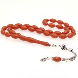 Artificial  Amber w Silver Tassel Prayer Beads