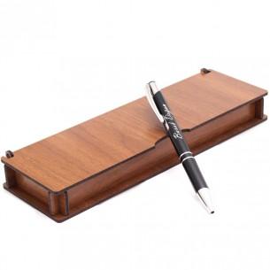İsimli Siyah Kalem ve Not Yazili Ahsap Hediye Kutu