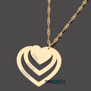 3 İsimli Kalpli Altın Kaplama Gümüş Kolye