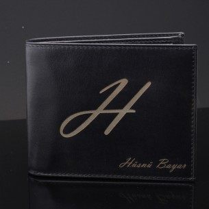 Personalized Black Leather...